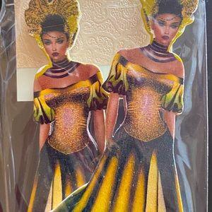 African American Black Woman Wooden Earrings
